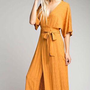 Honey Belle Golden Yellow Wrap Dress